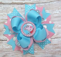 Peppa Pig Hair Bow Peppa Pig Boutique Hair by JustinesBoutiqueBows