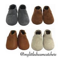 $18 suede genuine leather moccasins .