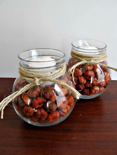 Glass Votive Candle Holders With Mini Pumpkin Pods -Tied with Twine - Rustic Fall Decor