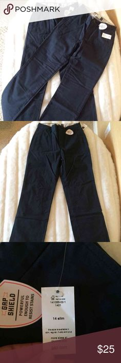 2 Pair NWT Gap Flat Front Chinos Brand new, size 14 slim, navy. GAP Bottoms Casual