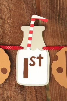 Milk and Cookies Happy Birthday Banner by PaperPartyParade on Etsy, $25.00