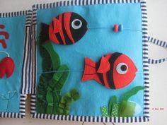 У нашей Алёнки скоро День рождения, пошилась для неё книжка.Спасибо, что досмотрели до конца . Fish swimming to eat their food, Quiet book page.