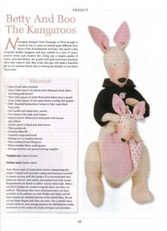 Тильда Кенгуру: выкройка мягкой игрушки для шитья