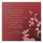 Christian Poster with Scripture Flowers and Birds