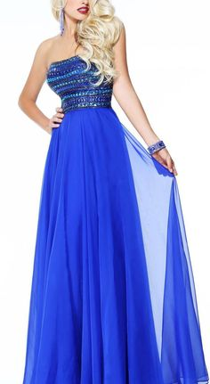 Sherri Hill Dress (Pre-owned Embellished Strapless Royal Blue Chiffon Designer Prom Gown)