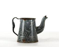 Enamel Coffee Pot, Grey Graniteware, Vintage Gray Enamelware, Child Size Miniature, Rustic Decor by VintageandMain