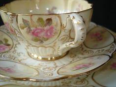 Victorian Tea Sets   VICTORIAN PINK ROSES TEA TRIO SET - CRESCENT CHINA ENGLAND