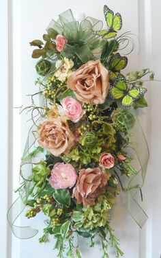 Spring Summer Shabby Chic Grapevine Swag Wreath by HungUpOnWreaths, $99.00