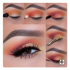 How to Apply an Eyeshadow – Step by Step Tutorial makeup geek eyeshadows in peach smoothie, chickadee, poppy, bitten&yellow brick road - Das schönste Make-up Smokey Eye Makeup, Skin Makeup, Eyeshadow Makeup, Peach Eyeshadow, Makeup Brushes, Eyeshadow Palette, Smoky Eye, Copper Eyeshadow, Summer Eyeshadow
