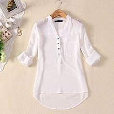 Womens Spring Summer V-neck Chiffon Long Sleeve Casual elegant Shirt Blouse Tops Blouse Styles, Blouse Designs, Chiffon Shirt, Chiffon Tops, White Chiffon, Sheer Chiffon, White Cotton, Chemises Sexy, Long Blouse