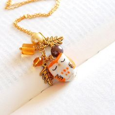 Autumn owl necklace