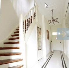 hall and stairs Staircase Railings, Staircase Design, Stairways, Banisters, Style At Home, Hall Flooring, Traditional Doors, Entry Hallway, House Stairs