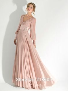Modest-Dusty-Pink-Long-Sleeve-Prom-Dresses-V-Neck-Mother-of-the-Bride-Dresses-Plus-Size.jpg (600×800)