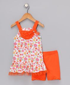 Young Hearts Orange Floral Tunic Shorts $14.99