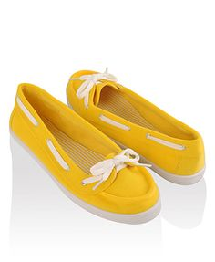 womens boat shoes yellow