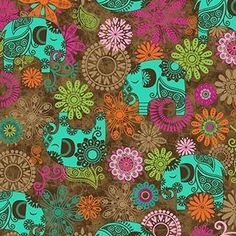 Karma Spirit's modern bohemian style is youthful and carefree. The floral and elephant motifs in Karma Spirit are evocative of Indian henna paintings, while the batik patterns and blenders express a global style that is popular amongst youth. #sewing #cotton #patchwork #quilting #Northcott #Karma #spirit #bohemian