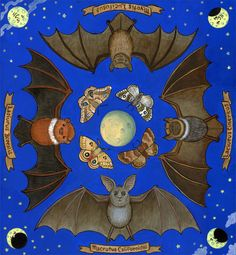 """BATS"" 2012  Acrylic on Wood Panel,   by Carrie Wagner - SOLD  PRINTS AVAILABLE for $20"
