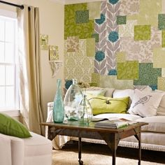 Create your own wall paper pattern using multiple wall paper swatches.