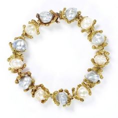Gold and Baroque Pearl Bracelet, 1968.  Worn by Princess Margaret, designed by John Donald.