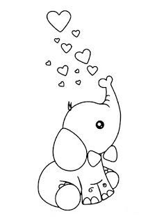 Cute Easy Drawings, Art Drawings For Kids, Animal Drawings, Easy Coloring Pages, Animal Coloring Pages, Coloring Books, Colouring, Elephant Coloring Page, Cat Coloring Page
