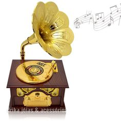 Caixa de Musica Formato Vitrola Estilo Vintage - Drika Gift Store - L13 x P12 x A 22 - R$ 45