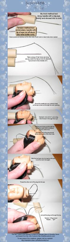 doll-essential: Re-rooting Methods - Double Knotting<br> Barbie Hair, Doll Hair, Barbie And Ken, Liv Dolls, Ooak Dolls, Barbie Dolls, Doll Wigs, Barbie Patterns, Diy Blog