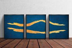 Printable Gold Abstract Lines Artwork, Set of 3 Wall Posters, Gold Brush Wall Art, Printable Decor Bedroom Wall Art, Digitized Prints Gold Wall Art, Gold Art, Line Artwork, Artwork Prints, Abstract Lines, Abstract Wall Art, Blue Poster, Gold Walls, Poster Wall
