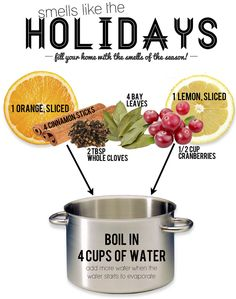 Smells like the holidays! Boil water with orange slices, cinnamon sticks, cloves, bay leaves, cranberries and lemon slices.