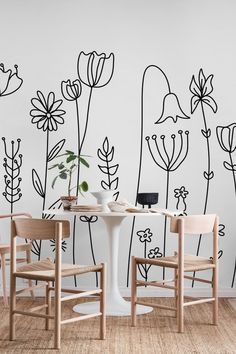 Apr 2020 - Cape Wildflowers wall mural from happywall Creative Wall Painting, Wall Painting Decor, Creative Walls, Diy Wall Art, Wall Decor, Room Decor, Mural Art, Wall Murals, Wall Design