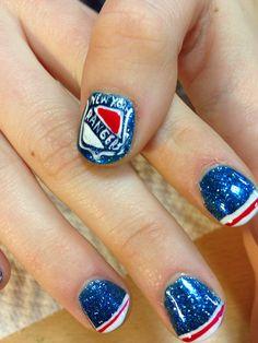 Hockey? Hockey Nails, Rangers Hockey, Tough As Nails, All Things New, Some Ideas, Mani Pedi, Class Ring, Nail Art, York