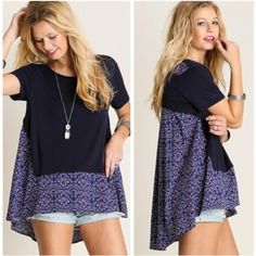 •oversized boho top• Top features boho style with solid and floral print. Loose fit. Material is 65% poly and 35% cotton.  Small bust measures 36 inches, length in front 26.5, back 29.5. Medium bust measures 40inches, length in front 27, back 30 inches. Large bust measures 42 inches, length in front 27.5, back 30. Price firm. Tops Tunics