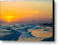 Siesta Key Sunset Walk Canvas Print / Canvas Art By Susan Molnar