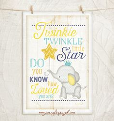 Twinkle Twinkle Little Star- 12x18 Giclee Art Print by Jennifer Pugh. Enjoy this adorable Nursery Art print with its beautiful fonts and and