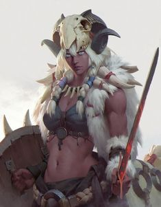 A nice tale where a female white hair barbarian may lead her clan to glory or destruction. They were expecting a male. d&d, pathfinder Anime Art Fantasy, Fantasy Girl, Fantasy Warrior, Fantasy Women, Fantasy Artwork, Female Character Design, Character Design Inspiration, Character Concept, Character Art