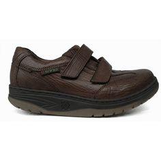 Zapato deportivo con velcros en piel grabada de color marrón de Sano by Mephisto vista lateral