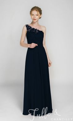 f3acdb626c Long One Shoulder Lace Bridesmaid Dress with Chiffon Skirt TBQP363