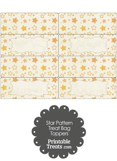 Vintage Orange Star Pattern Treat Bag Toppers from PrintableTreats.com