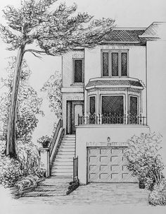 One of a kind custom pen and ink house portraits