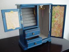 Navy Blue Hand Painted Wooden Jewelry Box