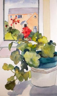 Window Geraniums, painting by artist Kay Smith