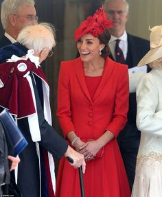 Catherine, Duchess of Cambridge (red Catherine Walker coat and Lock & Co hat), Order of The Garter Service at Windsor Castle on June 13, 2016