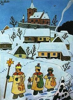 "The Christmas Nativity . ""The Three Kings"", by Josef Lada Christmas Scenes, Christmas Nativity, Christmas Art, Holiday Celebrations Around The World, Celebration Around The World, Winter Illustration, Christmas Illustration, Ukrainian Art, Naive Art"
