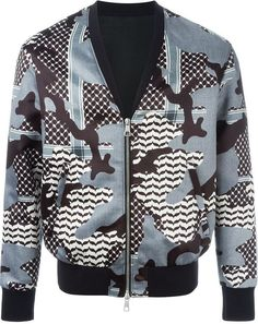 $1,222, Neil Barrett Camouflage Pattern Bomber Jacket. Sold by farfetch.com. Click for more info: https://lookastic.com/men/shop_items/449041/redirect