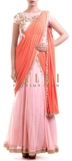 Buy Online from the link below. We ship worldwide (Free Shipping over US$100) Price- $229 Click Anywhere to Tag http://www.kalkifashion.com/pink-and-orange-saree-gown.html