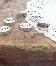 "Faith Beads €"" Small Silver Plated Message Word Beads"