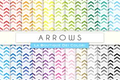Rainbow Arrows Chevron Digital Paper by La Boutique dei Colori on…