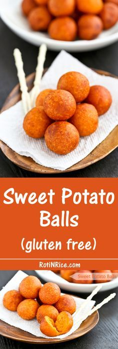 Only a few simple ingredients used in these gluten free Sweet Potato Balls deep fried to golden perfection. They make a tasty tea time or snack time treat. Gluten Free Cooking, Gluten Free Recipes, Vegan Recipes, Cooking Recipes, Gluten Free Party Food, Sweet Potato Recipes, Sweet Potato Balls Recipe, Fried Sweet Potato, Snacks Für Party