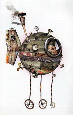 By Pablo Bernasconi- Argentina Steampunk Drawing, Arte Steampunk, Steampunk Artwork, Steampunk Illustration, Children's Book Illustration, Arte Robot, Street Tattoo, Whimsical Art, Stop Motion