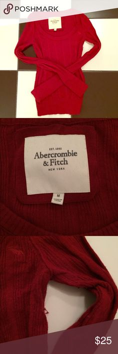 Red Abercrombie sweater Red Abercrombie sweater. Good condition with gentle wear. Slight piling as shown in third picture. No trades. Please ask all questions before purchasing and use the offer button, thanks! Abercrombie & Fitch Sweaters Crew & Scoop Necks