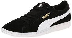 PUMA Women's Vikky Fashion Sneaker,Black/White,6 B US